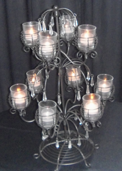 Wrought Iron Center Piece 10 Light Votive With Crystals rental